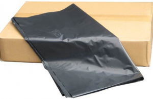 Black garbage bags in bundles