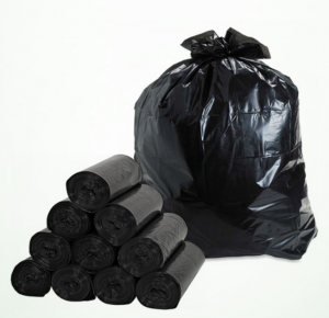 Black garbage bags in rolls